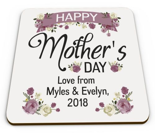 Personalised Happy Mother's Day Lovely Floral Glossy Mug Coaster